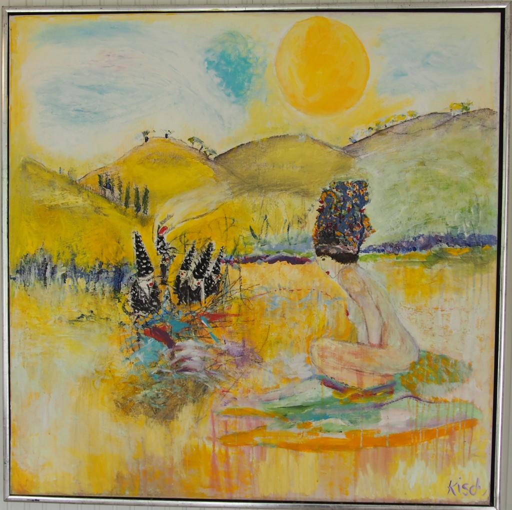 Titel: Narrehattene i Lilleputland. Akryl på lærred. 100x100 cm.